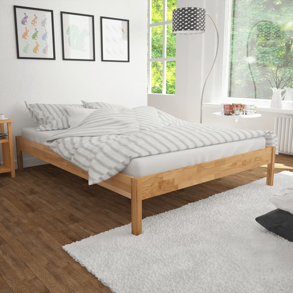 vidaXL tömör tölgyfa franciaágy matraccal 140 x 200 cm