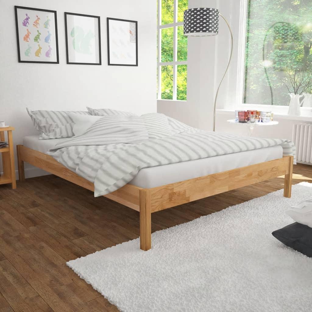 vidaXL tömör tölgyfa franciaágy matraccal 180 x 200 cm