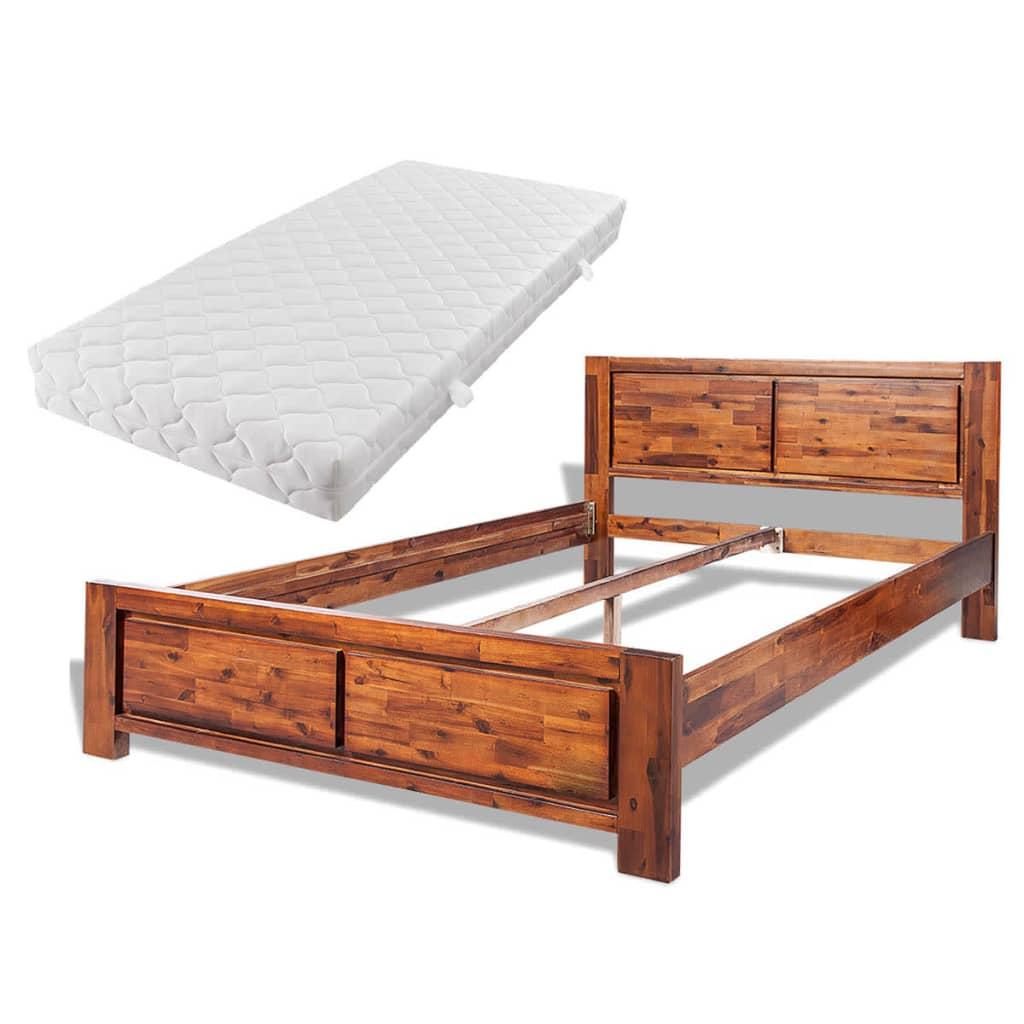 acheter vidaxl cadre de lit avec matelas bois d 39 acacia massif marron 180x200cm pas cher. Black Bedroom Furniture Sets. Home Design Ideas