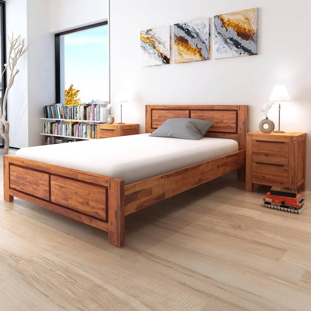 vidaXL barna tömör akácfa ágykeret matraccal 180 x 200 cm
