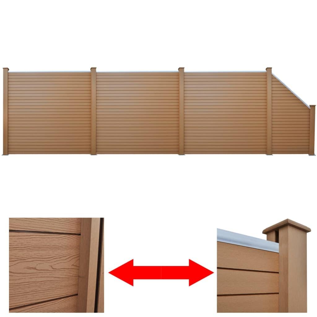 vidaXL barna WPC kerítéspanel szett 3 négyzet + 1 döntött elem 638 cm