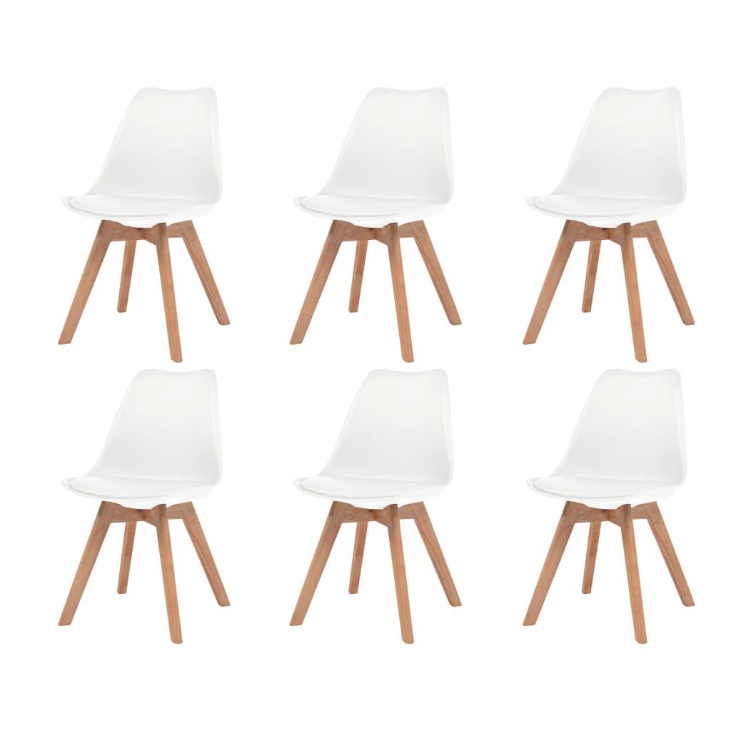 vidaXL Krzesła do jadalni, 6 szt., sztuczna skóra, lite drewno, białe