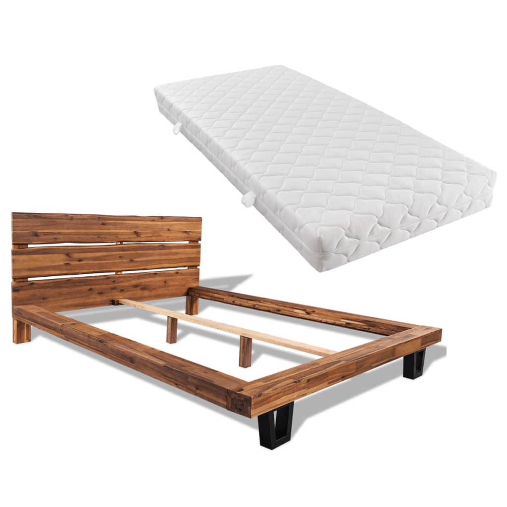 vidaXL tömör akácfa ágykeret matraccal 140 x 200 cm
