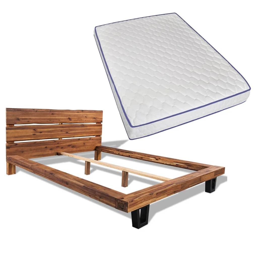 vidaXL tömör akácfa ágykeret memóriahabos matraccal 140 x 200 cm