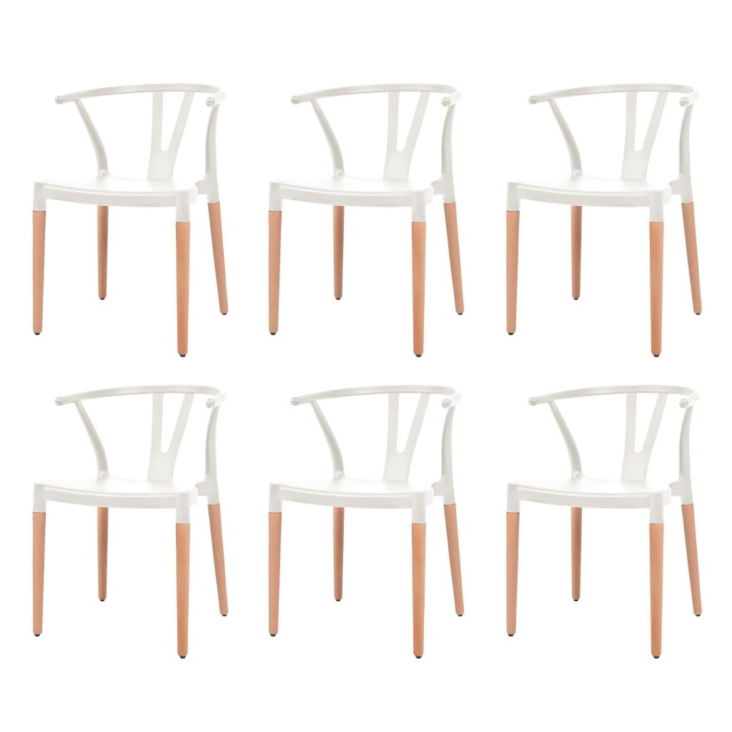 vidaXL 6 db fehér étkezőszék műanyag ülőrésszel és acél lábakkal