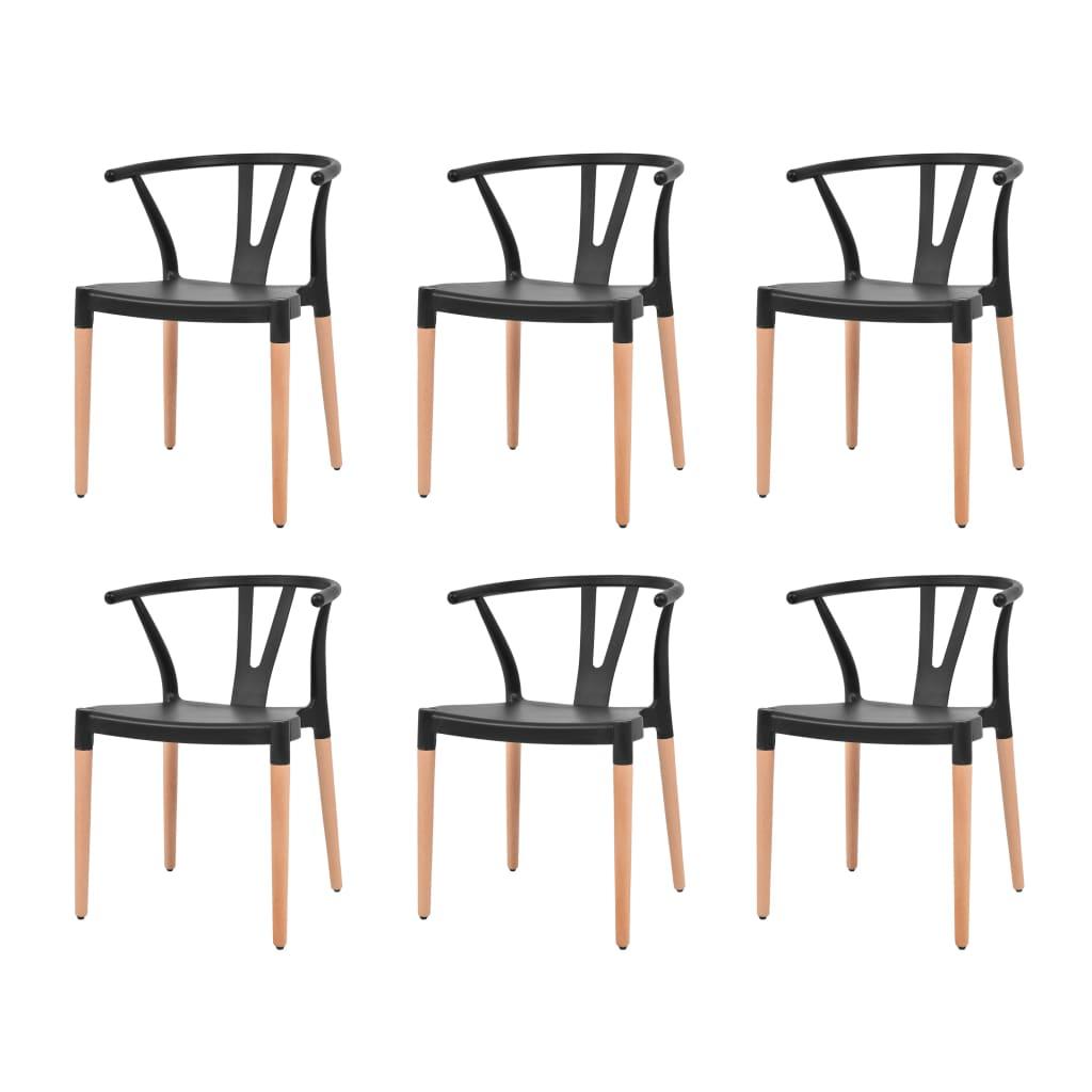 vidaXL 6 db fekete étkezőszék műanyag ülőrésszel és acél lábakkal