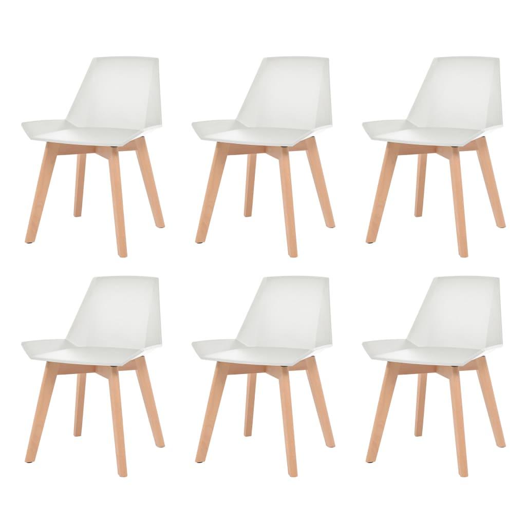 vidaXL 6 db fehér étkezőszék műanyag ülőrésszel és bükkfa lábakkal