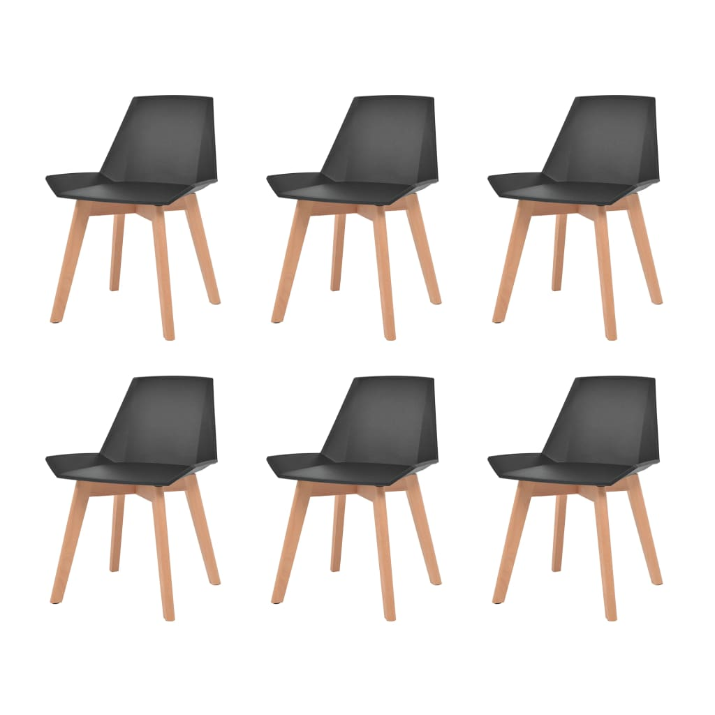 vidaXL Komplet 6 krzeseł, nogi z drewna i czarne, plastikowe siedziska