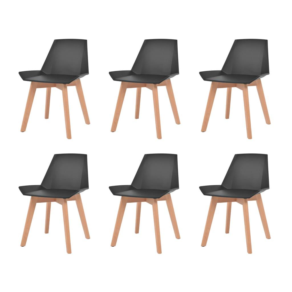 vidaXL 6 db fekete étkezőszék műanyag ülőrésszel és bükkfa lábakkal