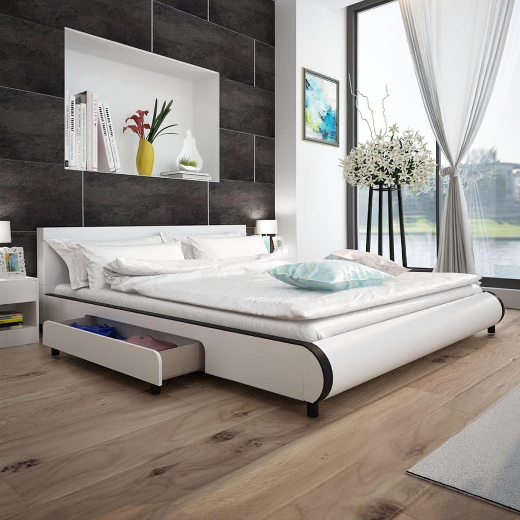 vidaXL-Bed-and-Memory-Foam-Mattress-White-Bedroom-Double-Queen-King-Sizes