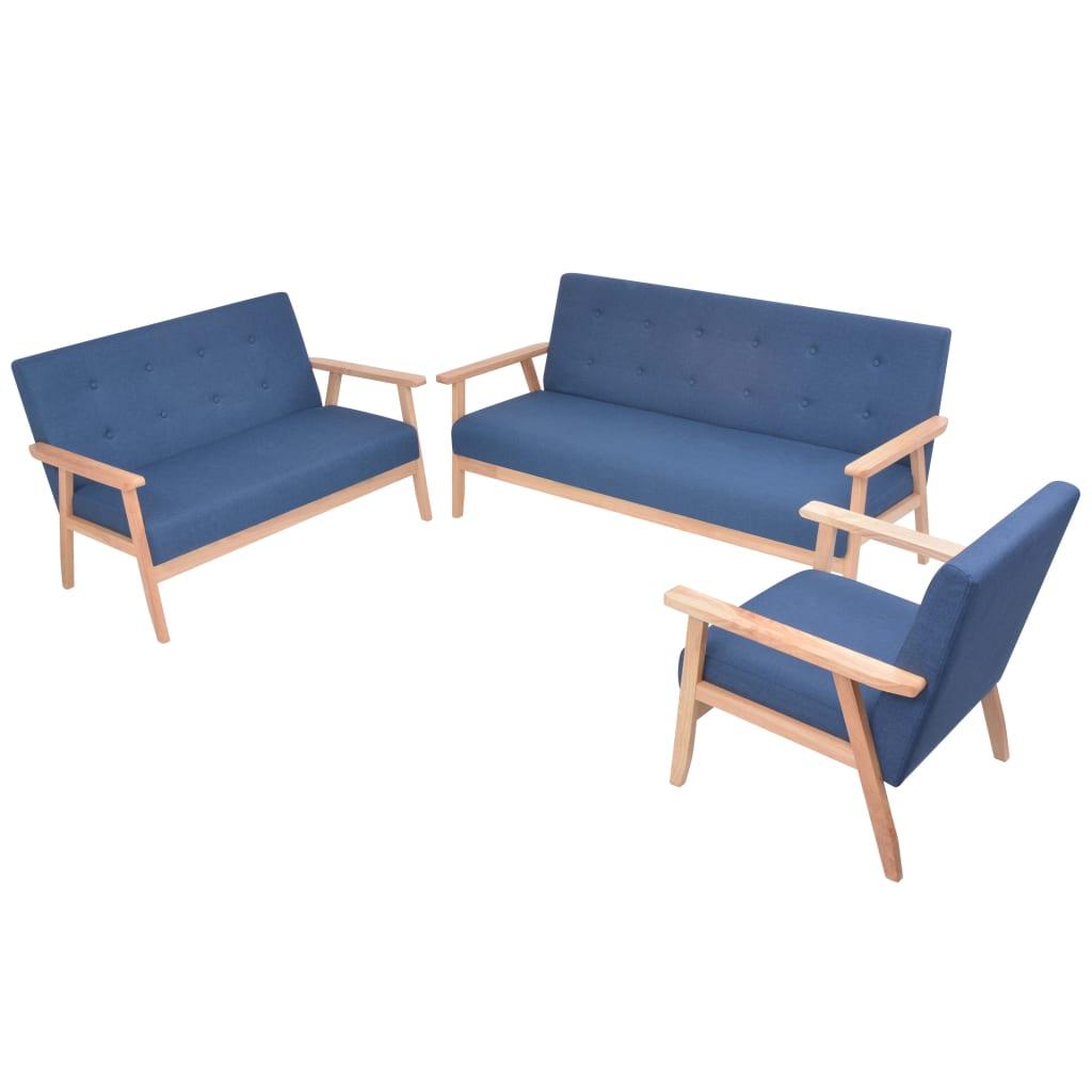vidaXL 3 részes kék huzatú ülőgarnitúra