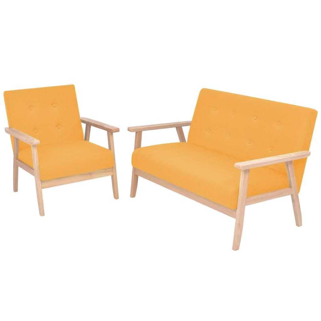 vidaXL 2 részes sárga huzatú ülőgarnitúra