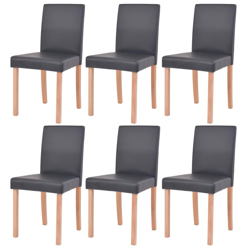 vidaXL Krzesła, 6 szt., sztuczna skóra, drewno bukowe, czarne