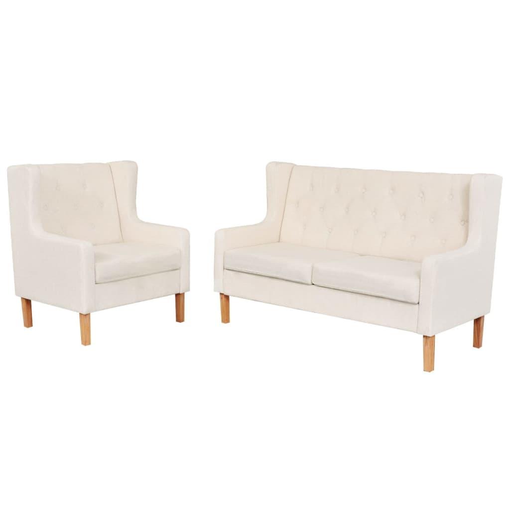 vidaXL Zestaw wypoczynkowy - sofa i fotel, kremowe