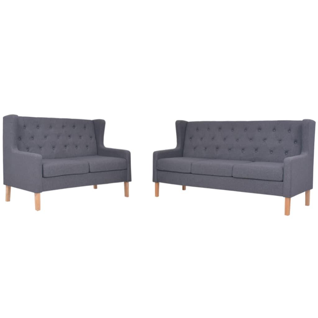 vidaXL Zestaw sof, 2 szt., materiałowe, szare