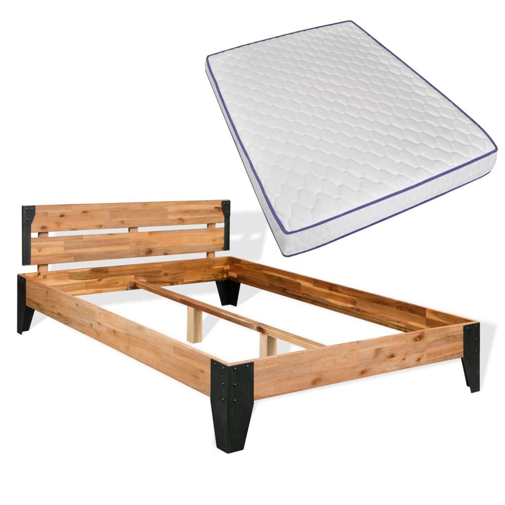 vidaXL acél, tömör akácfa ágykeret memóriahabos matraccal 140 x 200 cm