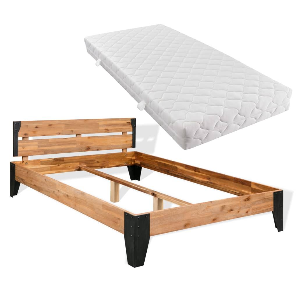 vidaXL acél, tömör akácfa ágykeret matraccal 180 x 200 cm
