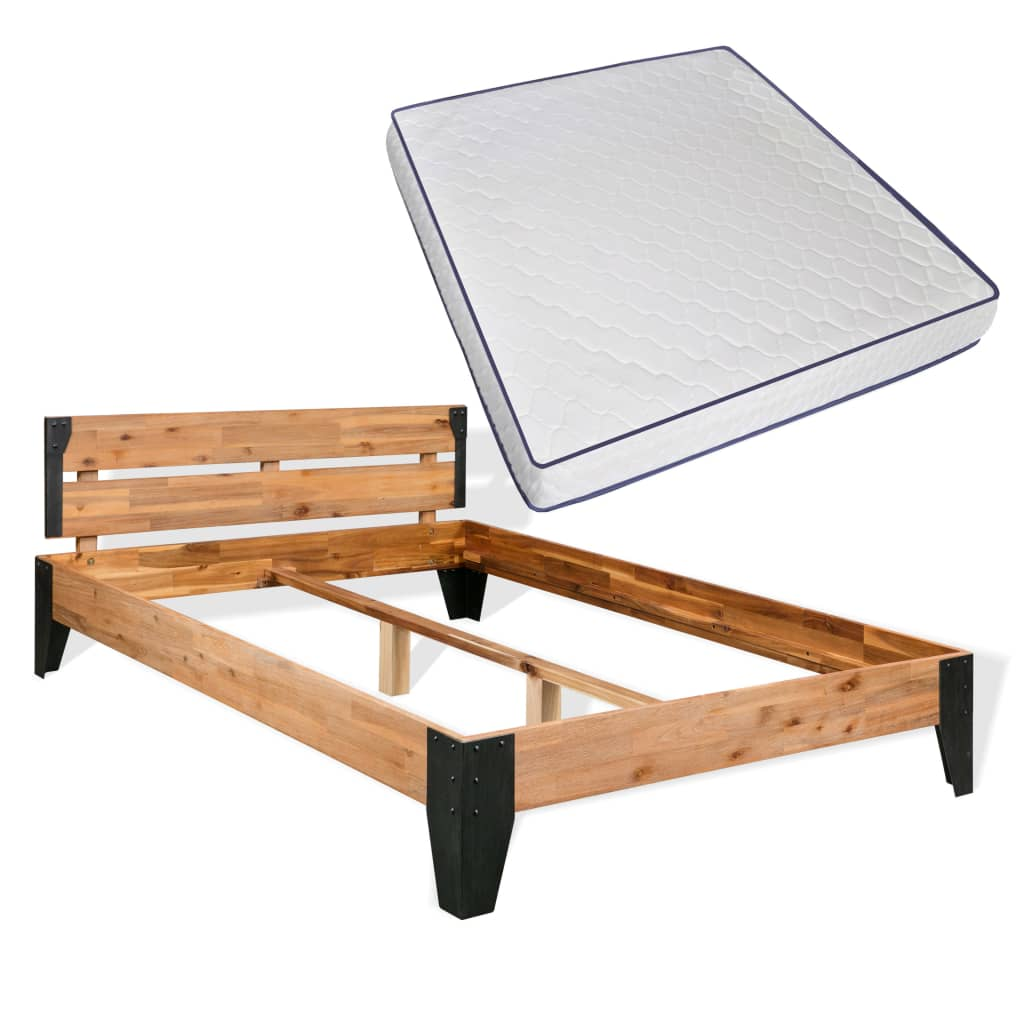 vidaXL acél, tömör akácfa ágykeret memóriahabos matraccal 180 x 200 cm