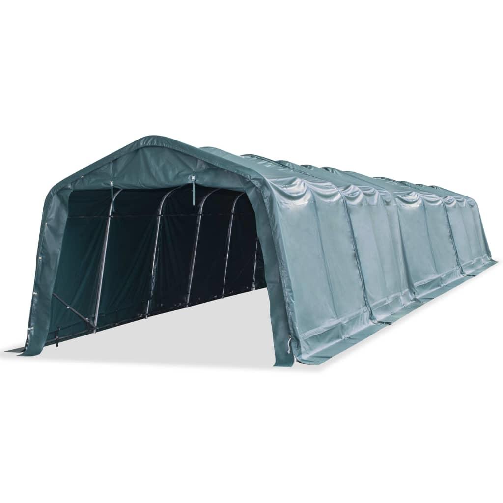 vidaXL sötétzöld, hordozható, PVC állattartó sátor 3,3 x 16 m
