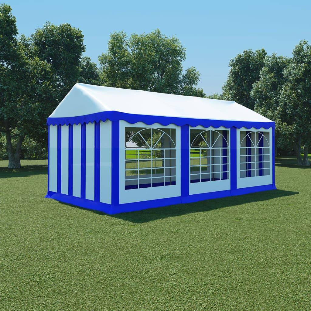 vidaXL kék és fehér PVC kerti pavilon 3 x 6 m