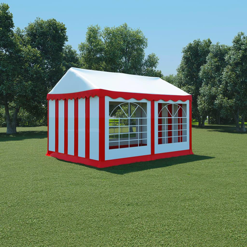 vidaXL piros és fehér PVC kerti pavilon 3 x 4 m
