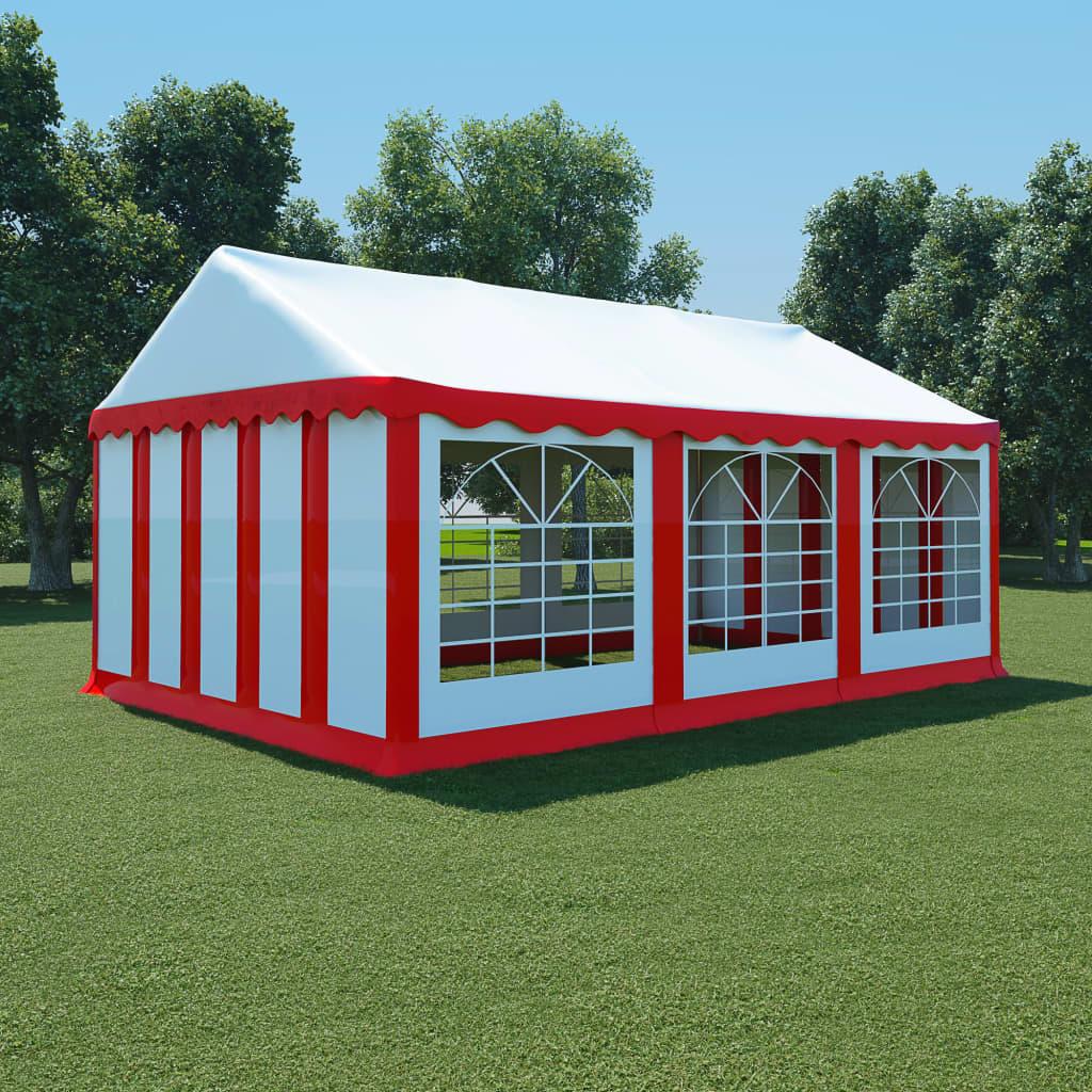 vidaXL piros és fehér PVC kerti pavilon 4 x 6 m
