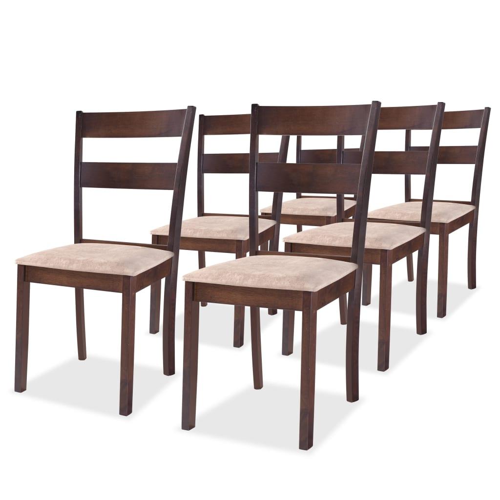 vidaXL Krzesła jadalniane, 6 szt., brązowe, drewno kauczukowe