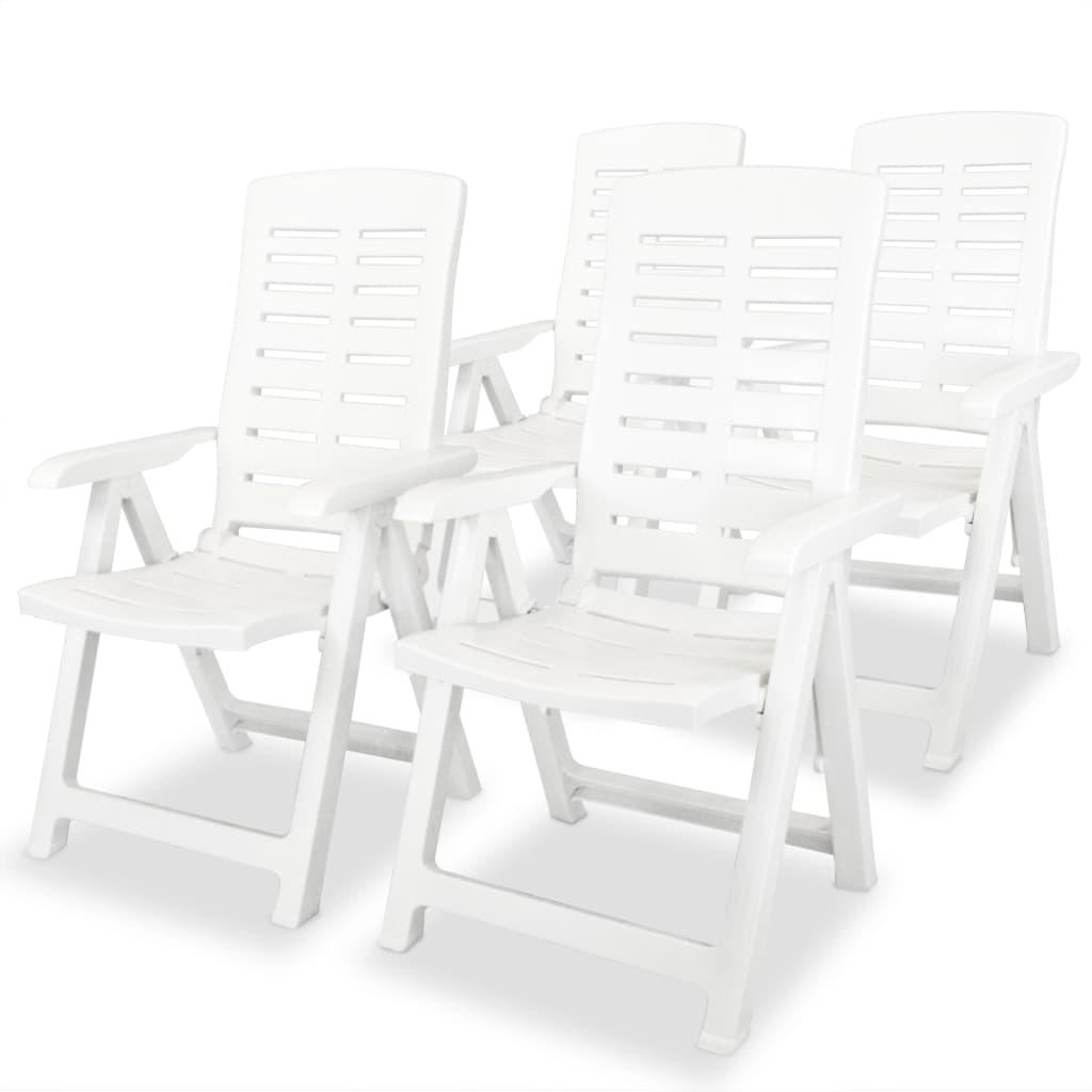 vidaXL 4 db fehér, dönthető, műanyag kerti szék 60 x 61 108 cm