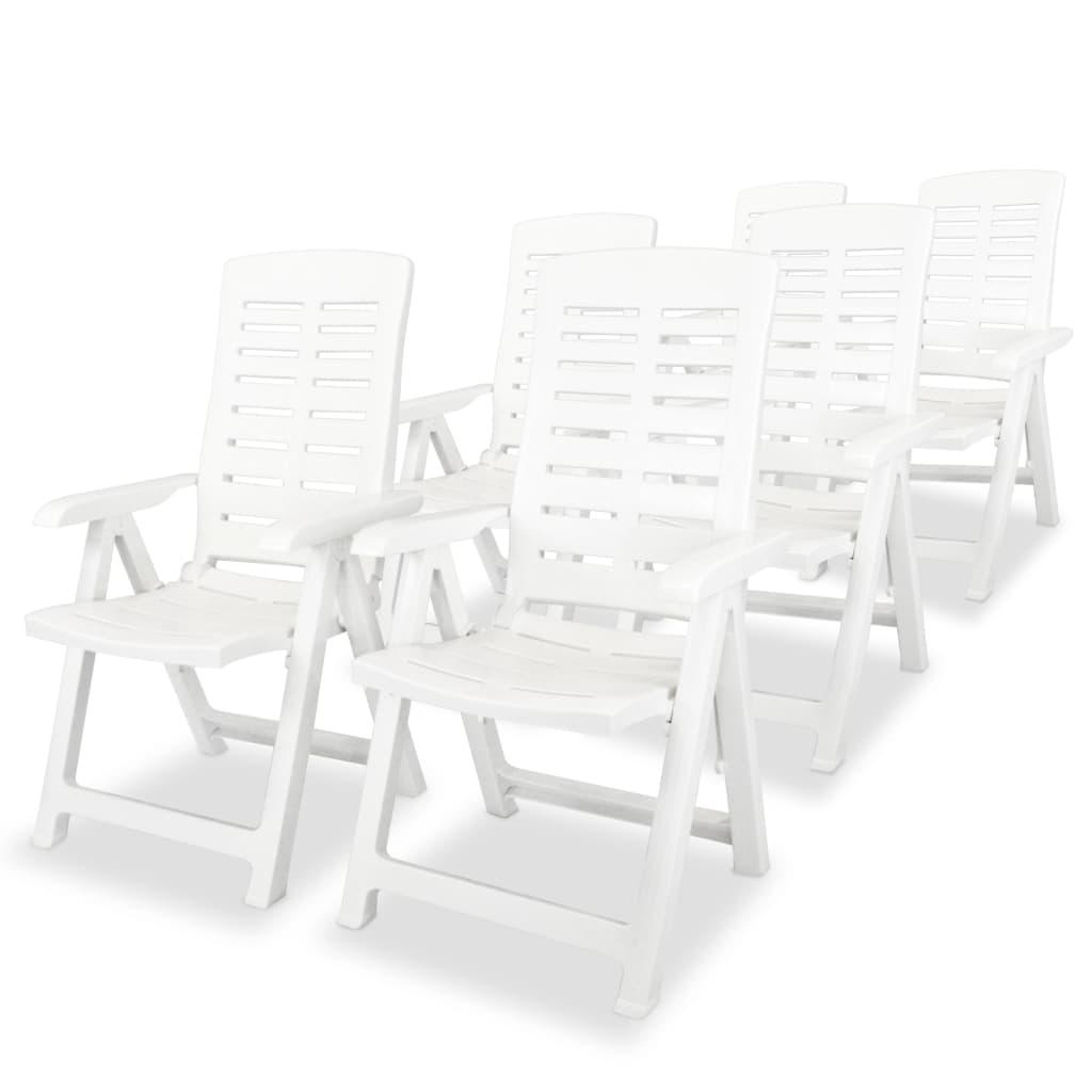 vidaXL 6 db fehér, dönthető, műanyag kerti szék 60 x 61 108 cm