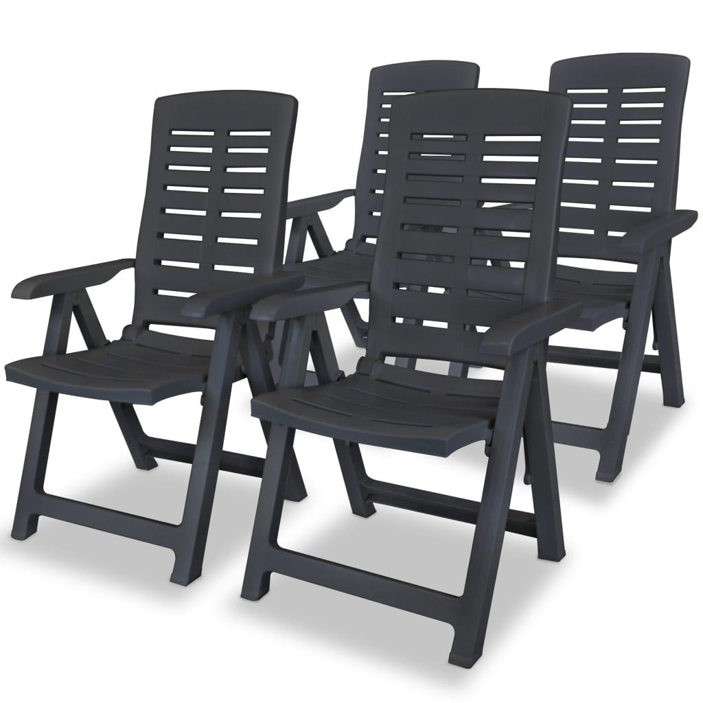 vidaXL 4 db antracit, összecsukható műanyag kerti szék 60 x 61 108 cm