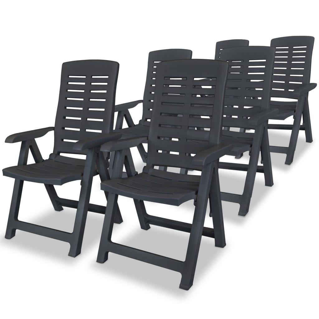 vidaXL 6 db antracit, összecsukható műanyag kerti szék 60 x 61 108 cm