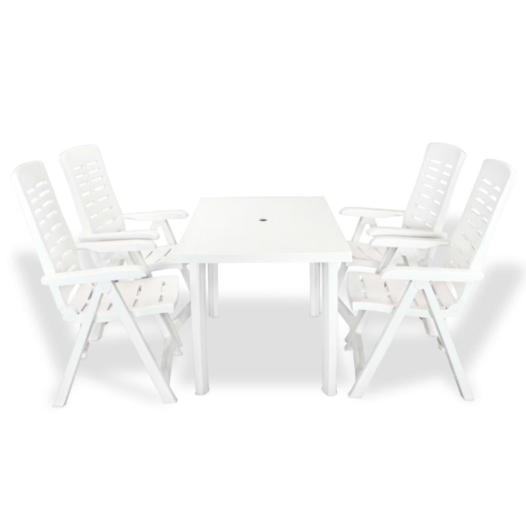 vidaXL 5 részes, fehér kültéri étkezőgarnitúra 126 x 76 72 cm