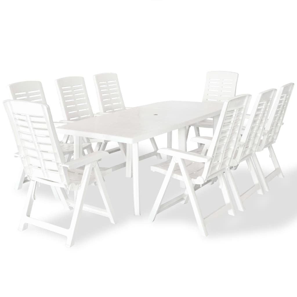 vidaXL Zestaw mebli ogrodowych, 9 części, biały, 210 x 96 72 cm