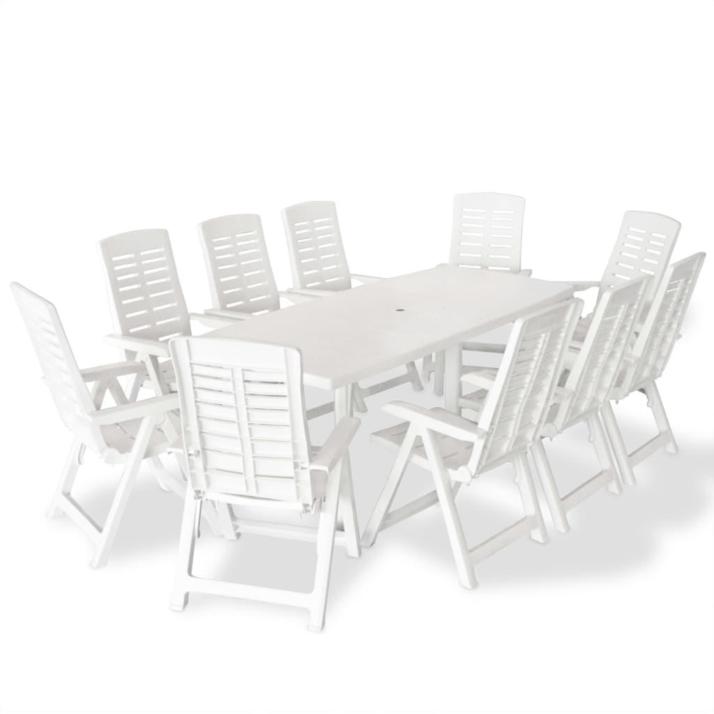 vidaXL Zestaw mebli ogrodowych, 11 części, 210x96x72 cm, białe