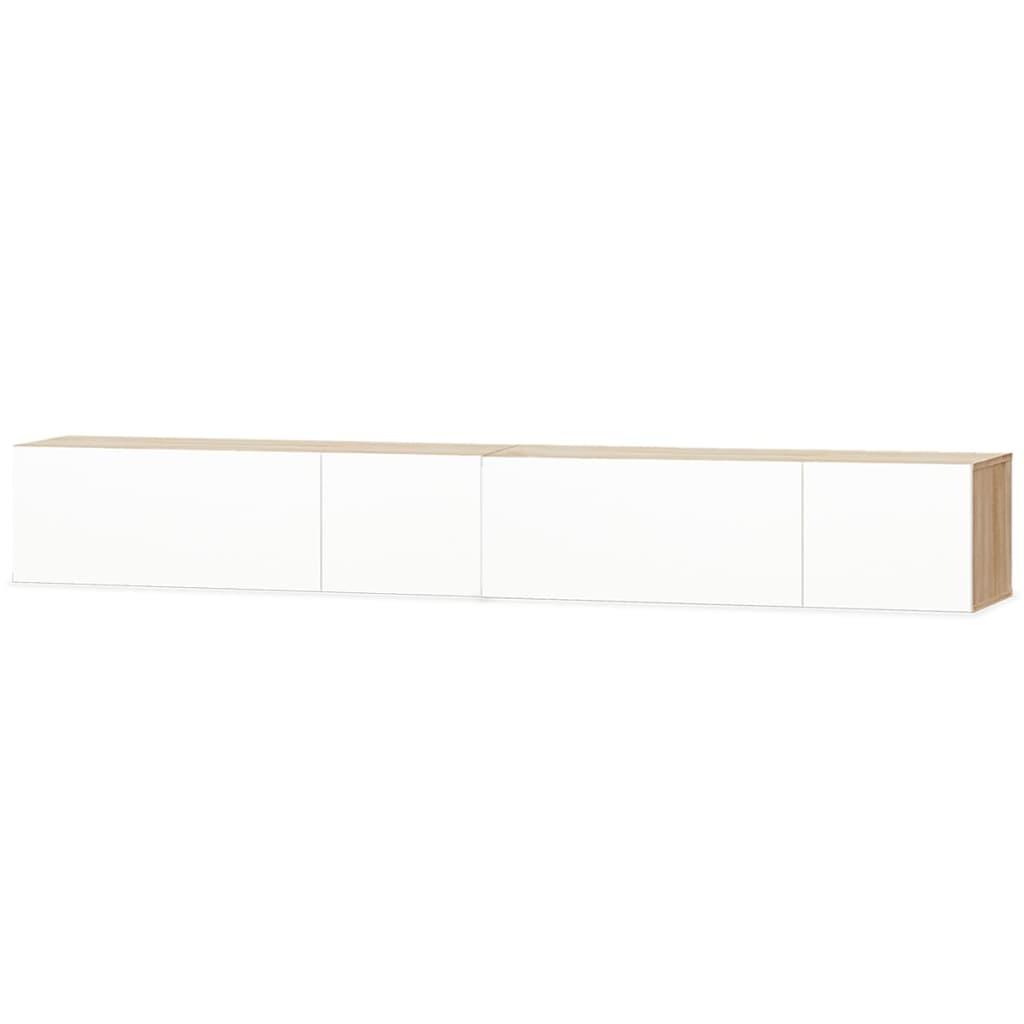 vidaXL Szafki pod TV, 2 szt, 120x40x34 cm, dębowo-białe, wysoki połysk