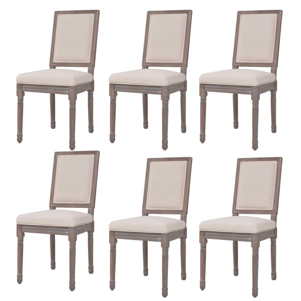 vidaXL Esszimmerstühle 6 Stk. Leinen 47 x 58 x 98 cm Cremeweiß