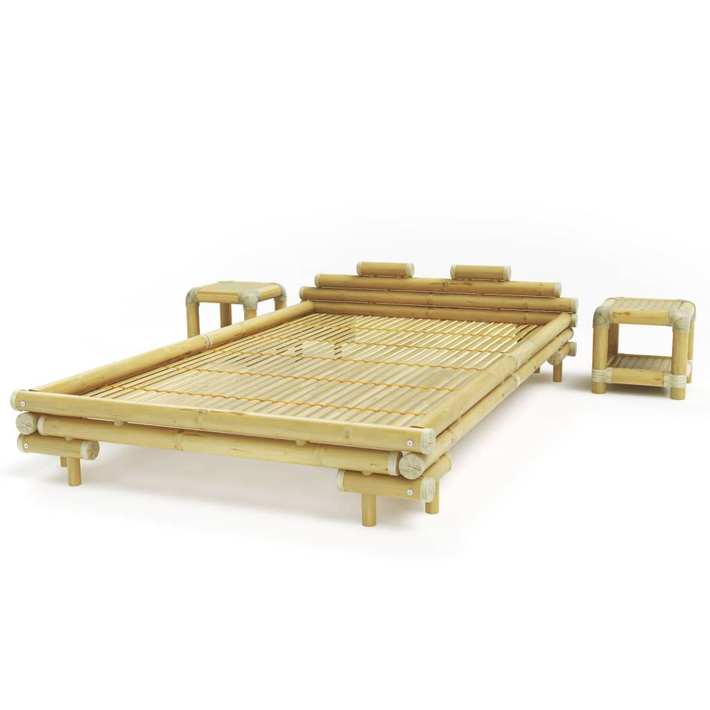 Afbeelding van vidaXL Bed met 2 nachtkastjes bamboe naturel 140x200 cm