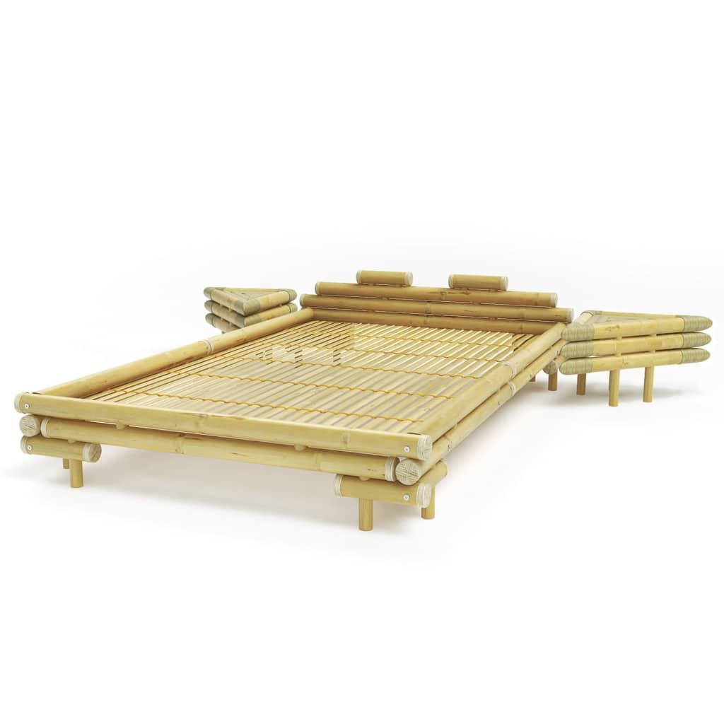 Afbeelding van vidaXL Bed met 2 nachtkastjes bamboe natuurlijk 140x200 cm