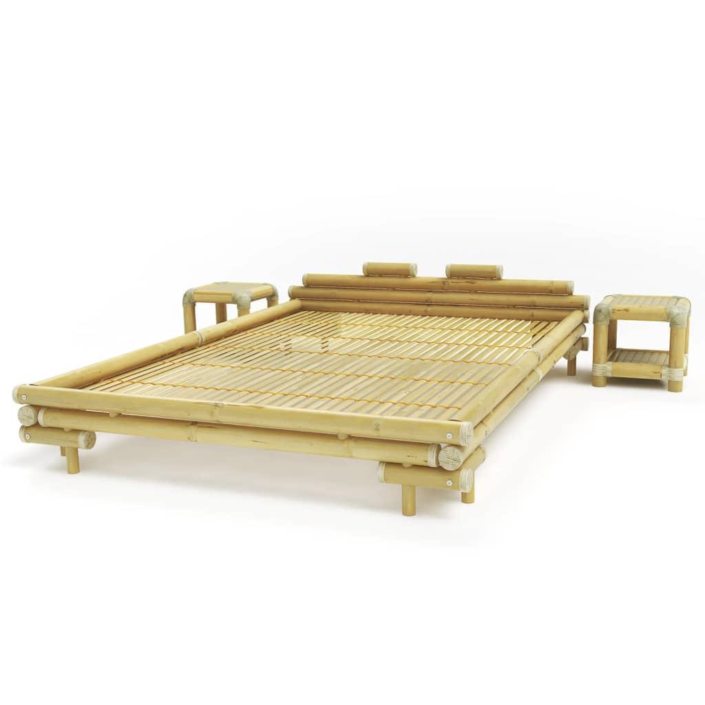 Afbeelding van vidaXL Bed met 2 nachtkastjes bamboe natuurlijk 160x200 cm