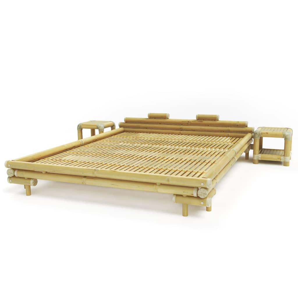 vidaXL Łóżko bambusowe z 2 stolikami nocnymi, naturalne, 180x200 cm
