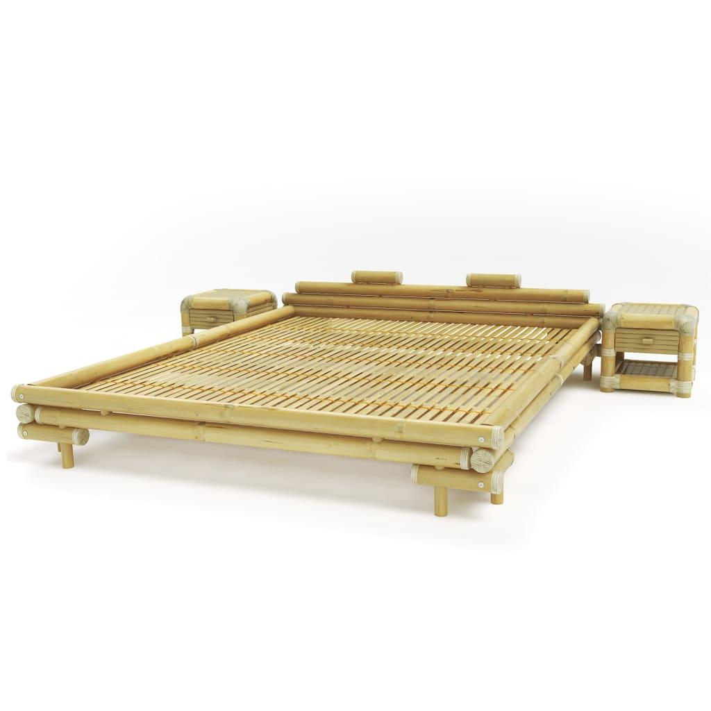 Afbeelding van vidaXL Bedframe met 2 nachtkastjes bamboe natuurlijk 180x200 cm