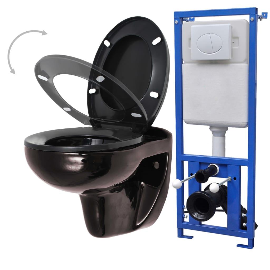 Afbeelding van vidaXL Hangend toilet met stortbak en soft-close bril keramiek zwart