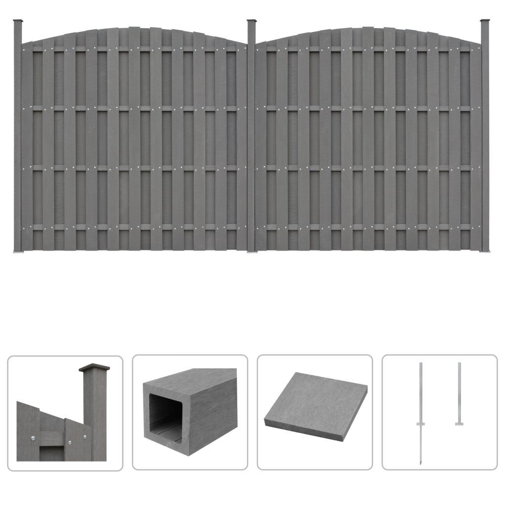 Details about vidaXL WPC Fence Outdoor Garden Panel Border Lawn Edging  Curved Multi Choice