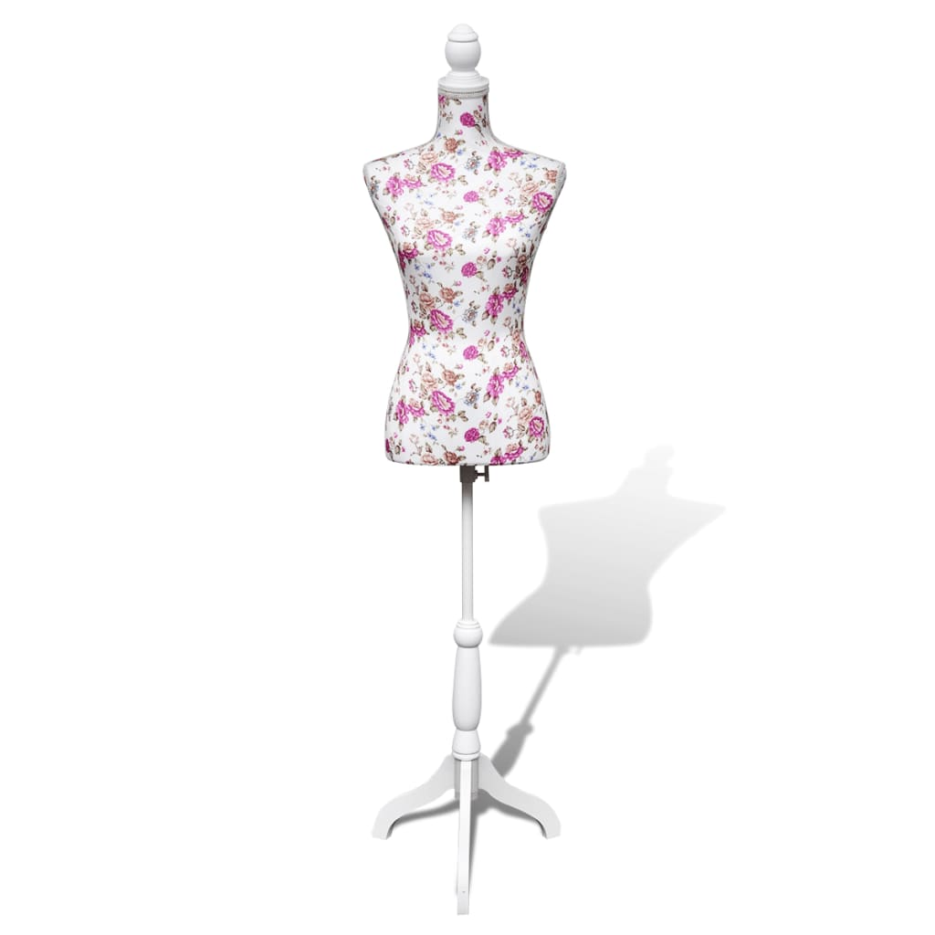 vida-xl-ladies-bust-display-mannequin-cotton-white-with-rose