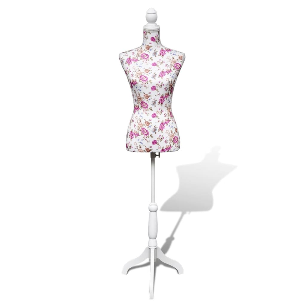 vidaXL Ladies Bust Display Mannequin Cotton White With Rose