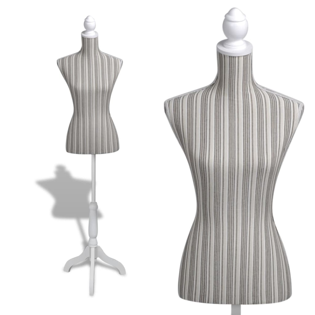 Ladies Bust Display Mannequin Linen With Stripes Vidaxl Com