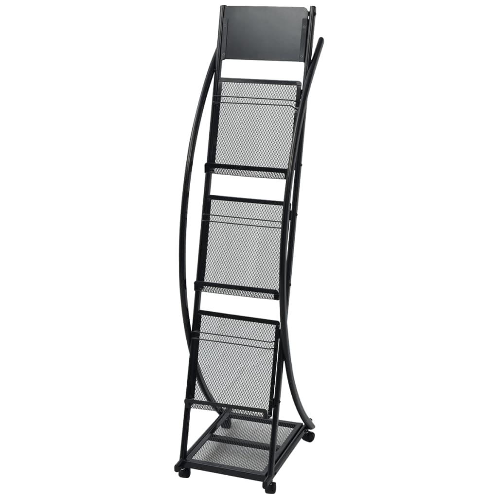 vidaXL Fekete, A4-es újságtartó állvány 40x32x131 cm