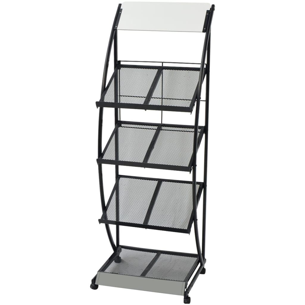 acheter vidaxl porte revue 47 x 40 x 134 cm noir et blanc a4 pas cher. Black Bedroom Furniture Sets. Home Design Ideas