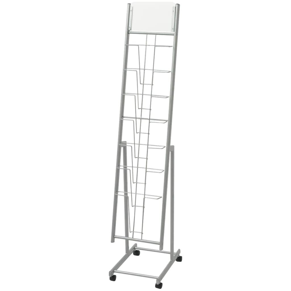 vidaXL Ezüst, A4-es újságtartó állvány 38x27x139 cm