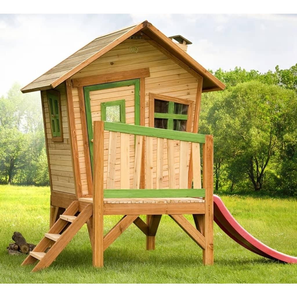 Axi casetta dei giochi con scivolo per bambini in legno for Grande casetta per bambini